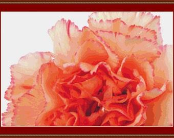 Orange Carnation Cross Stitch Pattern