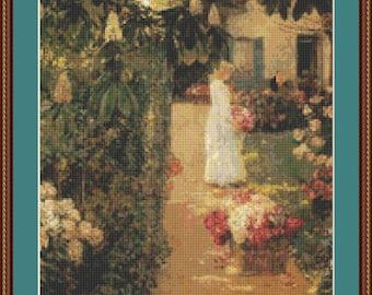 Gathering Flowers In A French Garden Cross Stitch Pattern