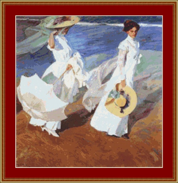 Promenade By The Sea Cross Stitch Pattern /Digital PDF Files /Instant downloadable