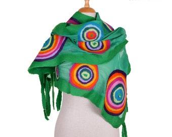 SALE! designer nuno felted scarf, emerald green and colour circles (rainbow), silk felt wool hand felted fairy shawl, felted wool scarf