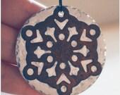 Snowflake Ornament - Unique Rustic Ornament - Grandma Gift - Hammered Christmas Ornament - Rusted Tin Americana Decor