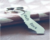 California Keychain - Cali Love Key Ring - California Girls - USA Keychain - Hand Stamped Customized Accessory