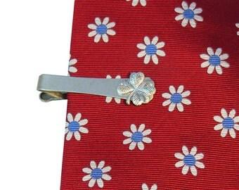 Clover Irish Tie Clip Vintage Good Luck 4 Leaf Clover