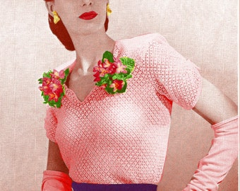 Almost FREE Vintage 1944 Dinner Date Lace Blouse 1001 PDF Digital Crochet Pattern