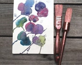 Purple & Teal Floral Paintings, original small watercolor, Spring wall decor