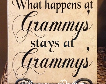 What Happens at Grammy's stays at Grammy's Vinyl Art Decorative Tile