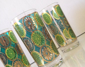 Georges Briard Gold, Green, and Blue Cocktail Tumbler
