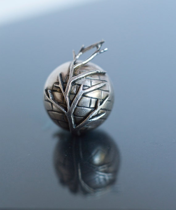 Sterling Silver Sphere Pendant - Copenhagen Inspired Brick Wall with Branches