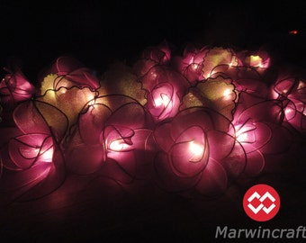 Battery or Plug 20 Purple Big Rose Flower Fairy String Lights Floral Party Patio Wedding Garland Gift Home Living Bedroom Holiday Decor 3.5m