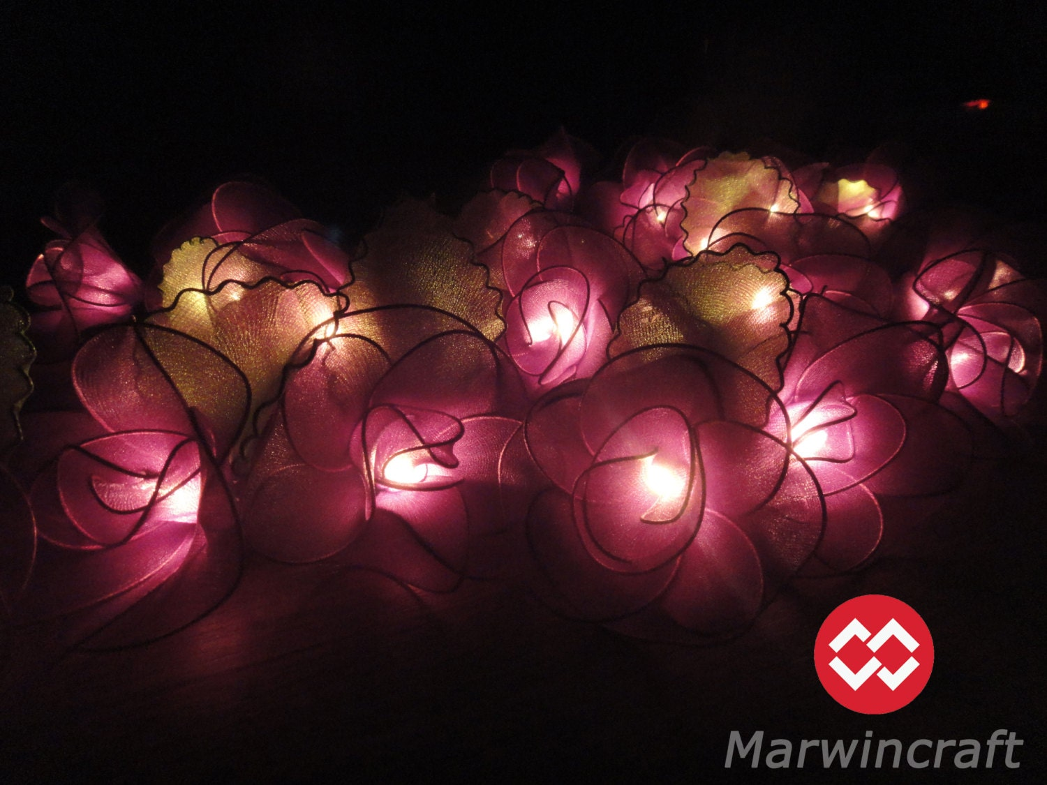 20 Purple String Lights Rose Flower Fairy Lights Bedroom Home