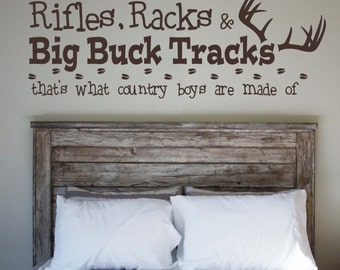 Riffle, Racks & Big Buck Tracks -Vinyl Wall Decal