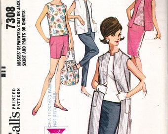 "Vintage 1964 McCall's 7308 Separates Coat or Jacket Top Skirt Pants or Shorts Sewing Pattern Size 10 Bust 31"" UNCUT"
