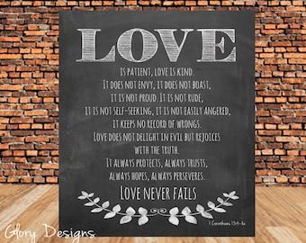 Bible Verse, Scripture printable, Scripture Art, Love is patient, Chalkboard, 1 Corinthians 13, INSTANT DOWNLOAD