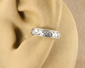 Ear Cuff, Sterling Silver, Swirl and Leaf Pattern, Ear Wrap, Ear Band, Cartilage Cuff, Non Pierced, Cartilage Earring, Gift Under 10