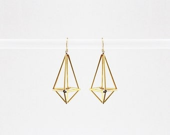 Himmeli inspired geometric earrings, dangle earrings in gold