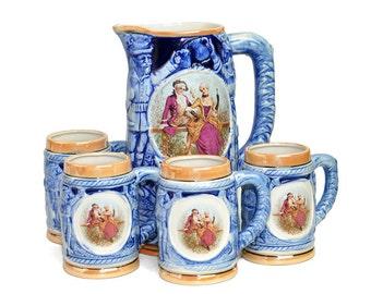 Victorian Beer Stein Set - Cobalt Blue Glaze Pottery, Bas Relief Bavarian Tavern Scene, Nobility Cameo - Vintage Home Serving Octoberfest