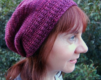 Hat Knitting PATTERN PDF, Knitted Hat, Slouch Hat Knitting Pattern, Knit Winter Slouchy Hat - Totallee Slouchee