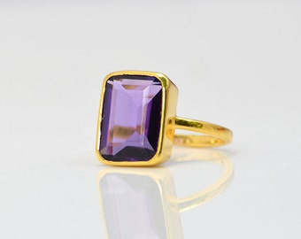 Large Purple Amethyst Ring - February Birthstone Ring - Faceted Rectangle Bezel Set Vermeil Gold Ring