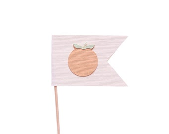 Georgia Peach Flag Cupcake Toppers / Appetizer Picks / Food Picks