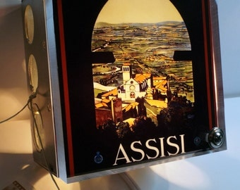 Assisi Italy Luggage Label Night Light Industrial Chic