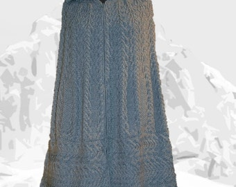 """Cape for women/ladies """"Cedar"""", hand knit with cables in pure undyed Royal Alpaca"""