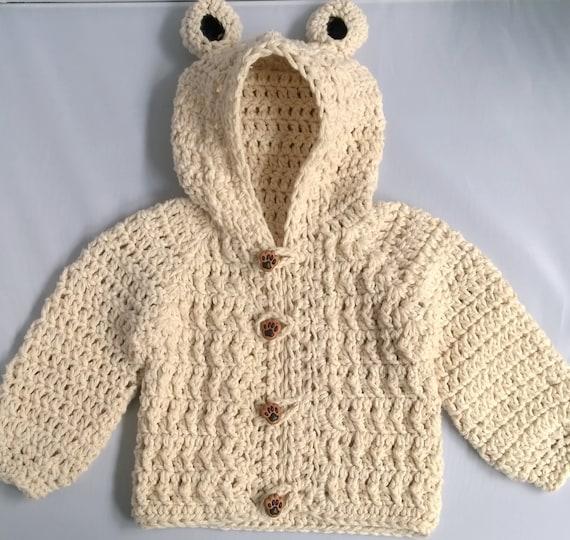 Crochet Baby Boy Sweater Bear Hood Baby Sweater By Yarnforbaby