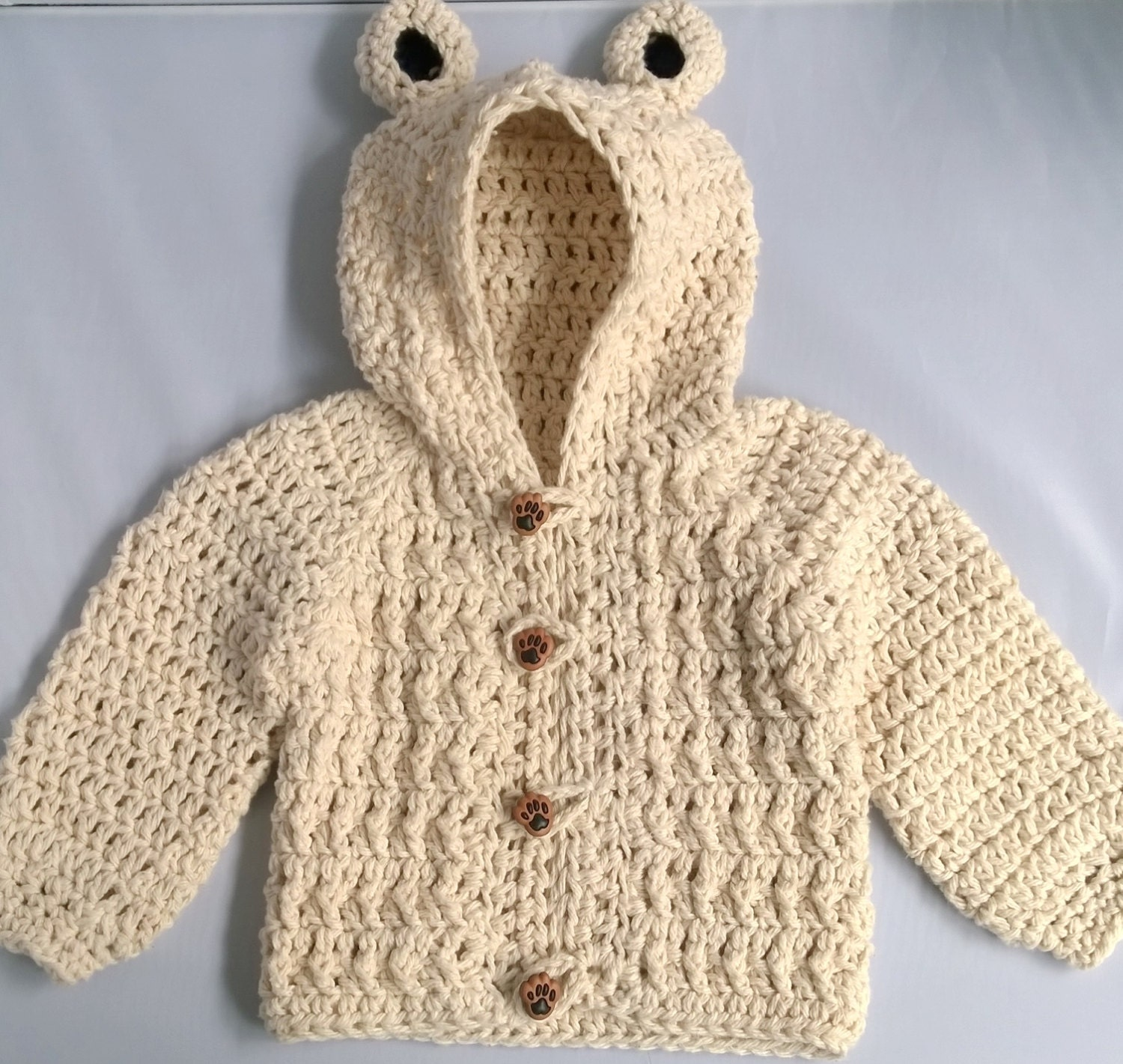 Crochet Baby Boy Sweater Bear Hood Baby Sweater by YarnForBaby