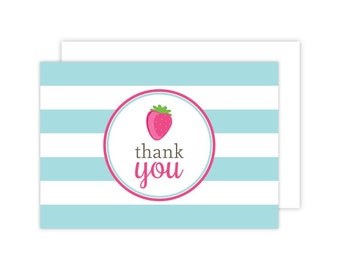 Strawberry Thank You Cards (Strawberry Folded Note Card, Baby Shower Thank You, Strawberry Notecard, Pink Strawberry)