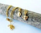 Minimalist Jungle Necklace - Lion or Elephant (your pick) - Dainty Short Gold Necklace