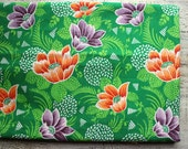 Vintage cotton fabric about 3 yards in 1 listing green orange lilac white floral