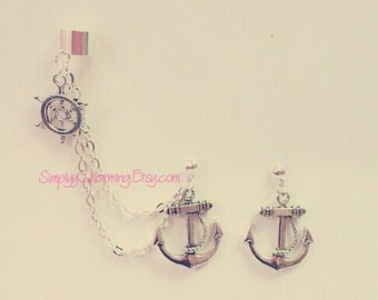 Anchor And Wheel Cartilage Chain Earrings Double Lobe Helix Ear Cuff Jewelry