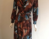 1970s Abstract Boho Dress Size 14 L