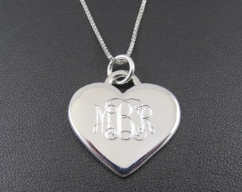 Heart Necklace - Personalized - Engraved Sterling Silver - Monogrammed Necklace