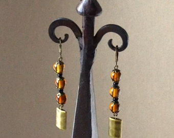 Long Drop Earrings Earth Tones Antique Bronze Brown Black Dangles Lever Back Glass Fashion Jewelry Jewellery PaisleyBeading Free Shipping
