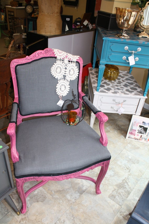 Items similar to Hot Pink Armchair with Gray fabric by ...