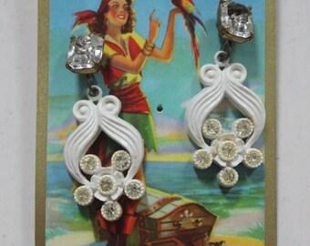 SALE! Vintage 'Naughty Bits' Rhinestone Flower Drop Post Earrings
