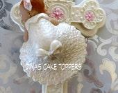 BAPTISM CHRISTENING Gown  Cake Topper Cross Favor Centerpiece fondant gum paste Pink Accents