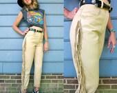 Southern Paradise Fringe Cream Leather Pants XS S 26