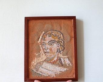 stone mosaic wall art / red brown sand, marble, stones / roman mosaic, antiqued mosaic / home decor, art interior decor
