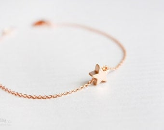 rose gold tiny star bracelet - simple, minimalist, everyday, friendship bracelet - gift for her