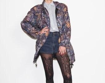 Vintage violet parka / violet coat / 1980s parka / Christmas parka / colorful parka / womens size large