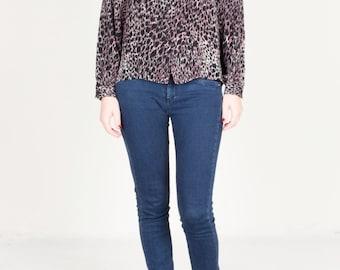 Vintage Snake Skin Blouse / Pink Black Snake Blouse Shirt / Animal Print 80s Top / Womens Size Small to Medium