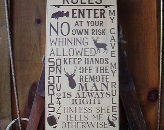 Wood Sign, Man Cave Rules , Subway,Word Art, Humorous, Hunting, Fishing, Football, Handmade, Word Art