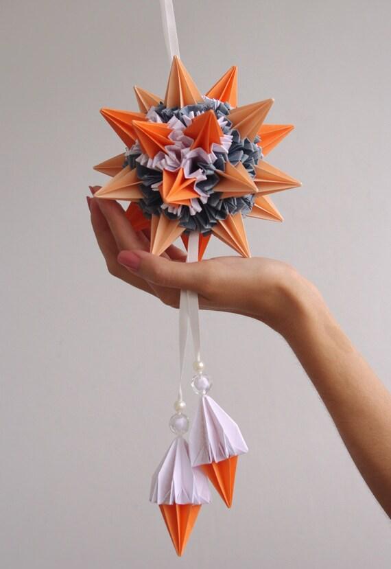 "Hanging paper mobile - Kusudama ""Sun rays"", orange grey paper ball,  Modern mobile, art sculpture, home decoration, Christmas ornament"