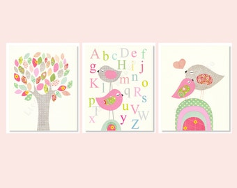 Baby Girl Nursery Prints, Pastel, Pink And Grey Nursery Art, SET OF 3, Alphabet Nursery, Birds, Tree,Art For Baby Girl, Assorted Prints