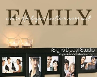 Family Wall Decal - Family Where Life Begins and Love Never Ends Decal - Vinyl Wall Decal - Family Room Sticker