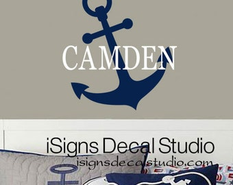 Nautical Wall Decal - Anchor Wall Decal - Nautical Decal - Custom Name Decal - Custom Anchor Decal -  Kids Room Decal - Sailing Wall Decal