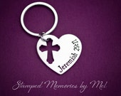 For I Know the Plans I Have for You- Hand Stamped Aluminum Key Chain with Cross Cut Out - Jeremiah 29:11 - Bible Verse Keychain