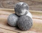 wool dryer balls - natural jacob sheep fleece - organic - set of four
