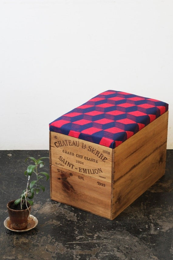 Upcycled double height wine box Ottoman storage box/ table  w/ hand screen printed navy and red cube geometric linen fabric